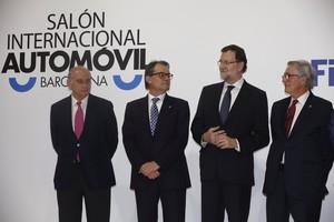 Mariano Rajoy, Alberto Fernández Díaz, Artur Mas y Xavier Trias en el Salón del Automóvil de Barcelona.