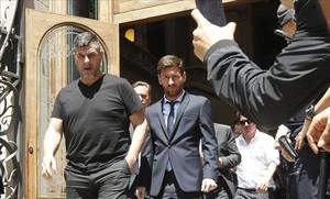 Messi abandona la Audiencia de Barcelona tras declarar en el juicio del 2 de junio del 2016.