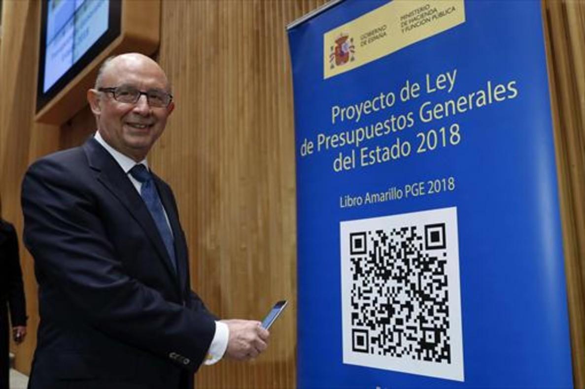 El ministro de Hacienda, Cristóbal Montoro, durante la presentación del proyecto de Presupuestos.