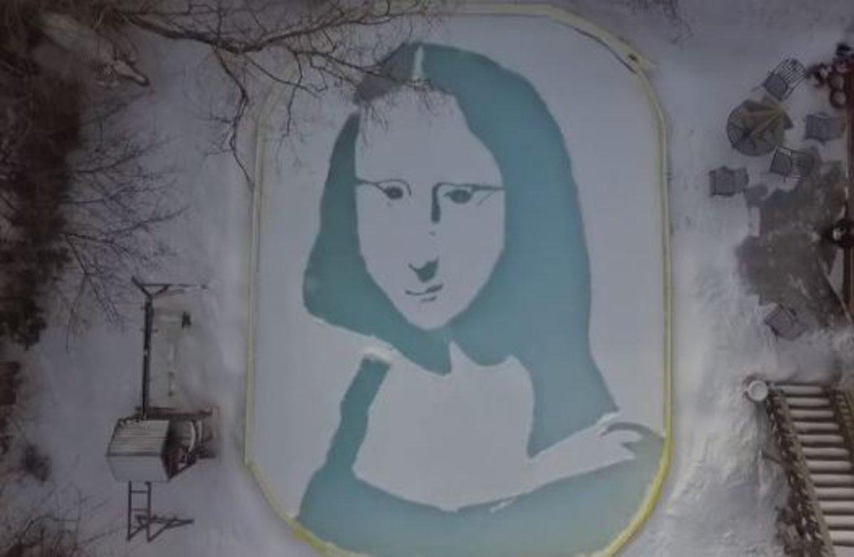 Un artista canadiense dibuja una espectacular Mona Lisa sobre la nieve