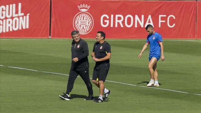 Onésimo y Eusebio, en el entrenamiento del Girona en La Vinya.