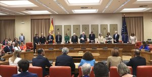 Acto de acatamiento a la Constitucion de los diputados españoles electos al Parlamento Europeo.