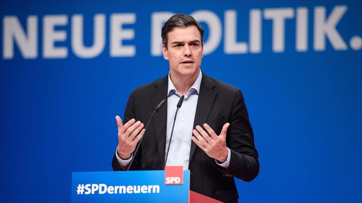 Pedro Sánchez, durante su intervención en el congreso del SPD alemán.