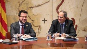 Pere Aragonès y Quim Torra, en la reunión del Consell Executiu.