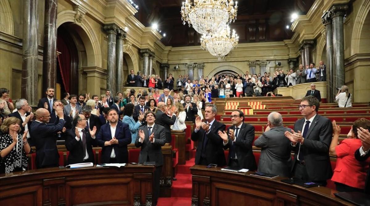 Pleno del Parlament en el que se aprobóla ley del referéndum, el 6 deseptiembre del 2017.
