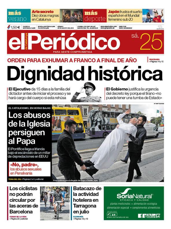 La portada de EL PERIÓDICO del 25 de agosto del 2018