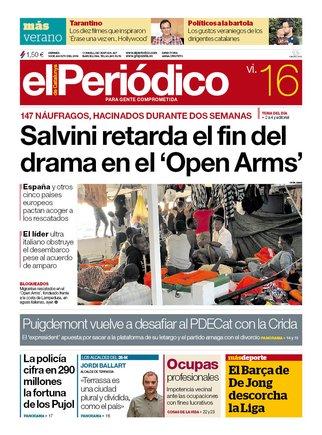 La portada de EL PERIÓDICO del 16 de agosto del 2019