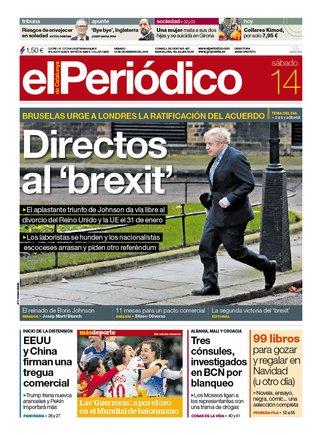 La portada de EL PERIÓDICO del 14 de diciembre del 2019.