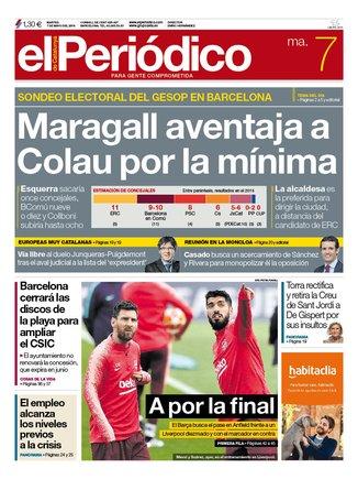 La portada de EL PERIÓDICO del 7 de mayo del 2019