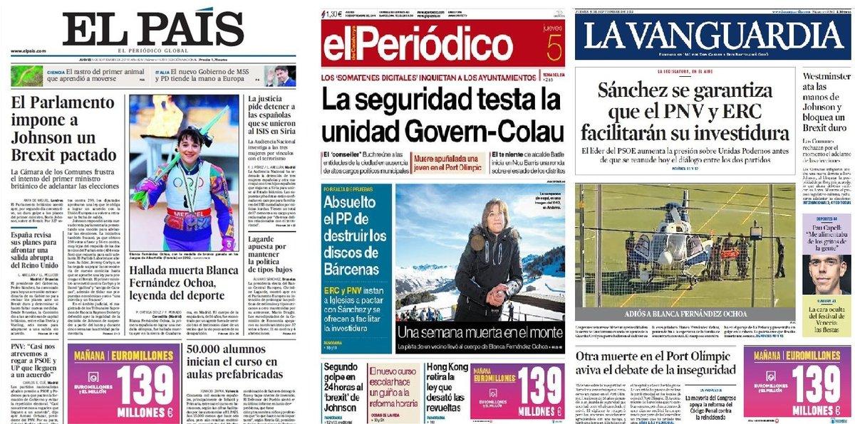 Prensa de hoy: Las portadas de los periódicos del jueves 5 de septiembre del 2019