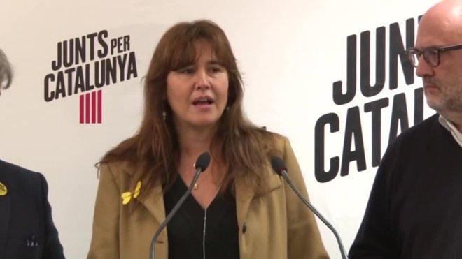 La portavoz de JxCat, Laura Borràs, tras la reunión con Puigdemont en Bruselas.