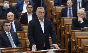 El presidente de Hungría,Viktor Orbán, en el Parlamento nacional, el 30 de marzo, día en que se aprobó la extensión del estado de emergencia.