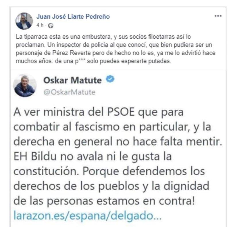 Primera publicación de Juan José Liarte en Facebook.