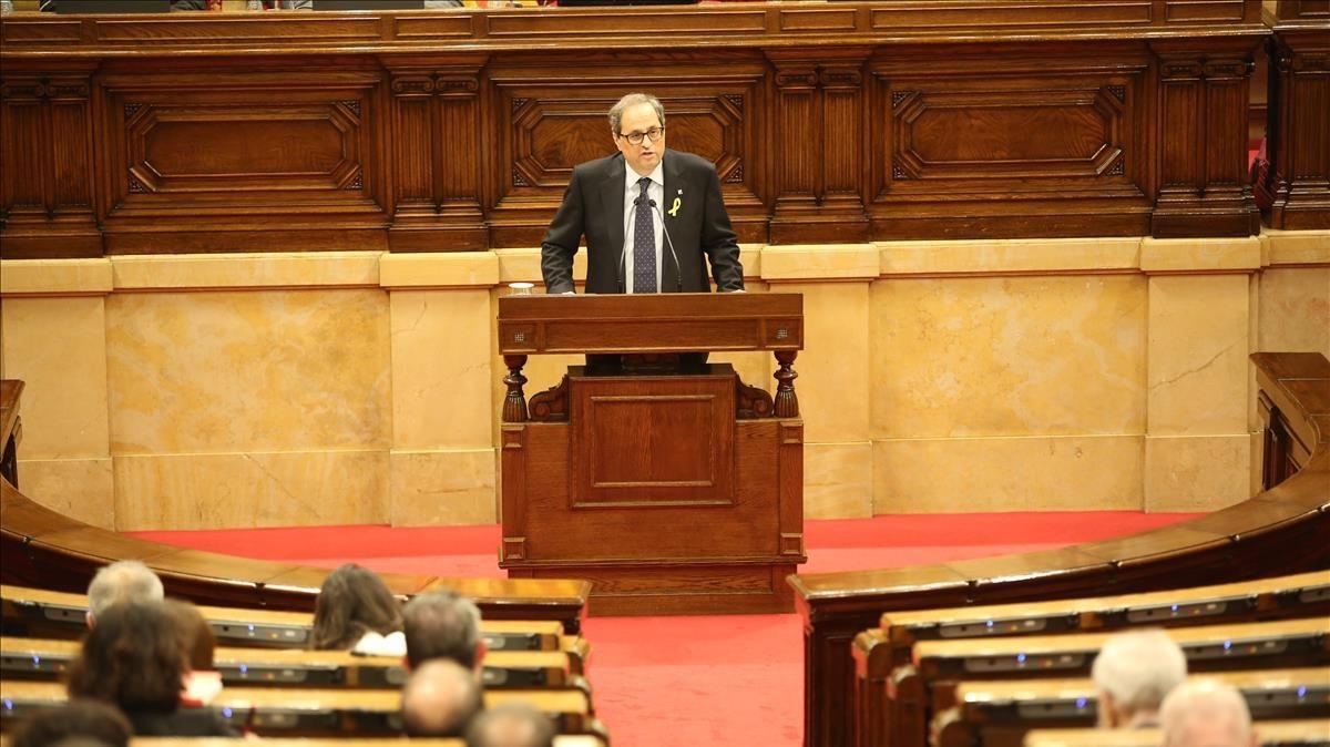Quim Torra, durante el pleno de investidura en el Parlament