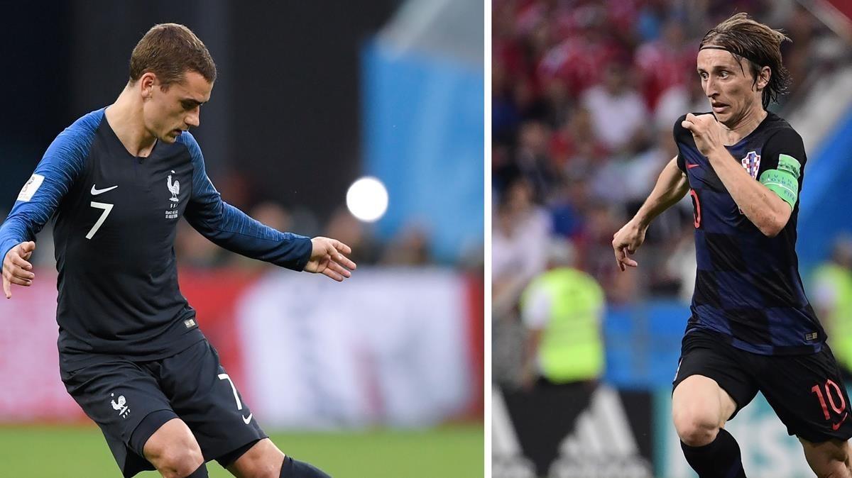 Griezmann y Modric, estrellas de Francia y Croacia.
