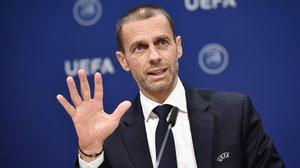 Aleksander Ceferin, en un acto de la UEFA.