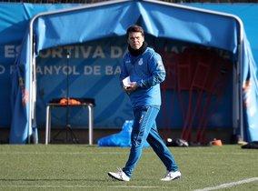 Rubi, en un entrenamiento del Espanyol en Sant Adrià.