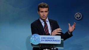 Rueda de prensa del vicesecretario de comunicación del PP, Pablo Casado.