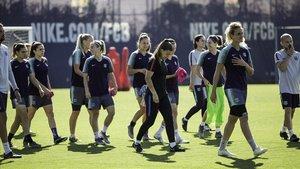 Las jugadoras del Barça, en un entrenamiento antes de la final de la Champions la temporada pasada.