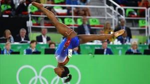 Simone Biles, en su última final de los Juegos de Río-2016.