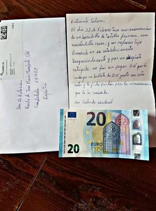 Captura de pantalla de la publicación de Facebook de los propietarios del bar de CandeledaLa Estación en Ávila de la carta del cliente que se fue sin pagar.