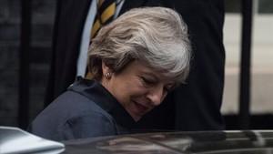 Theresa May, a su salida del 10 de Downing Street.