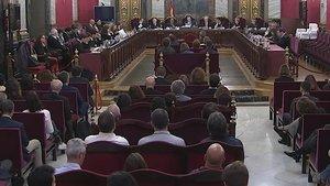 Una imagen de la sala del Tribunal Supremo que juzga a los responsables del 1-O, durante la sesión del pasado martes.