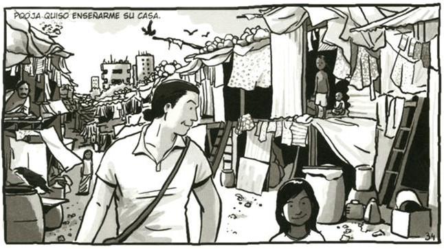 Visita a un slum de Jaume Sanllorente, en una viñeta de Sonrisas de Bombay.