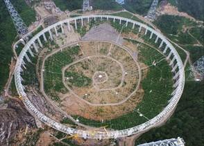 Vista aérea del radiotelescopio FAST.