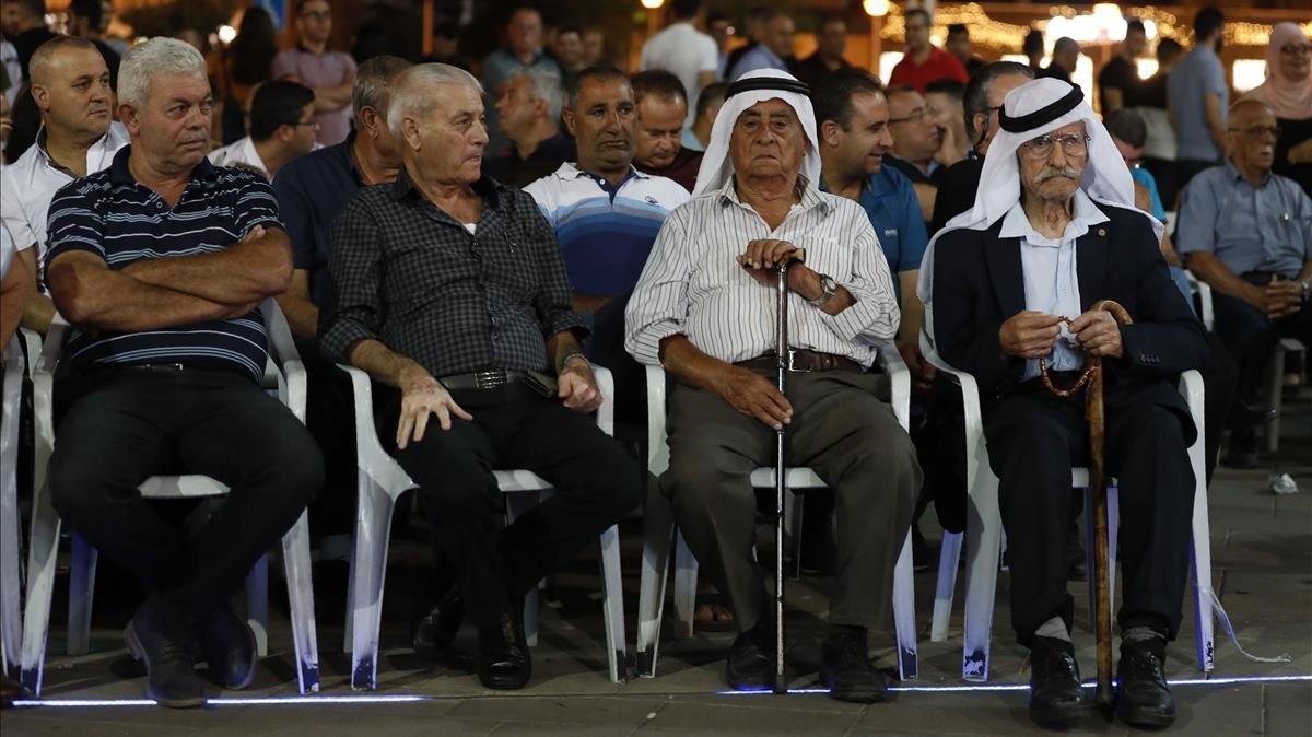 Votantes de la Lista Conjunta Árabe, en un mitin en Sakhnin el pasado domingo.