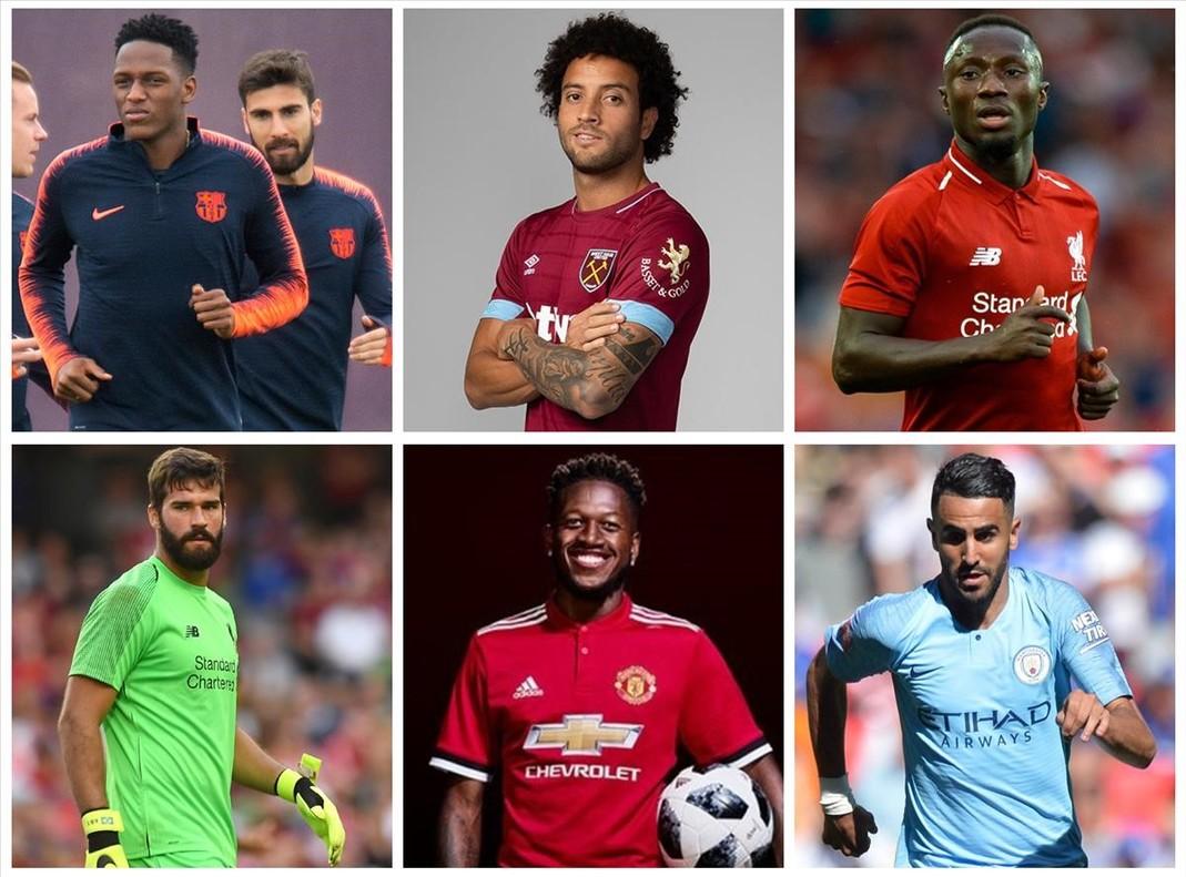De arriba abajo y de izquierda a derecha, Yerry Mina, Felipe Anderson, Naby Keita, Alisson, Fred y Mahrez.