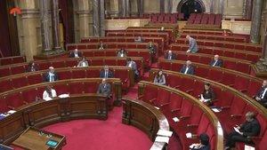 Los 21 diputados del pleno telemático del Parlament guardan un minuto de silencio.