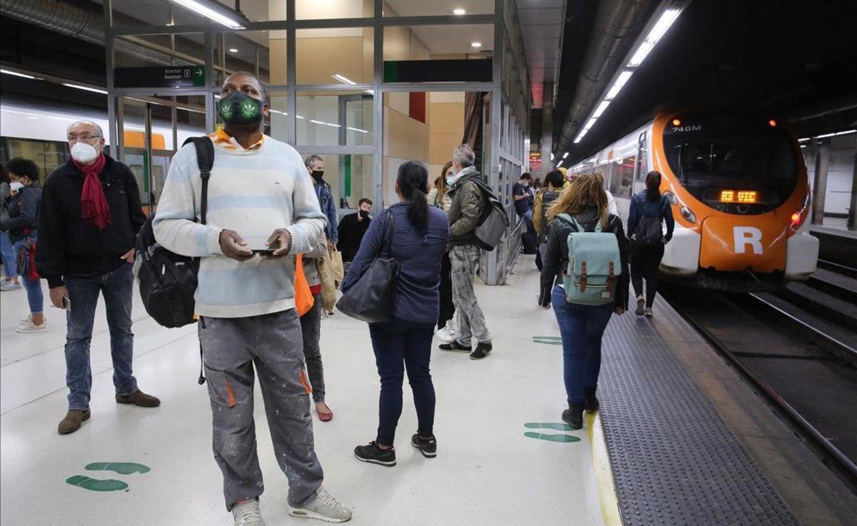 Estación de Rodalies de Barcelona-Sants, esta mañana.