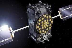 Simulació dels satèl·lits europeus Galileo amb els panells ja desplegats.