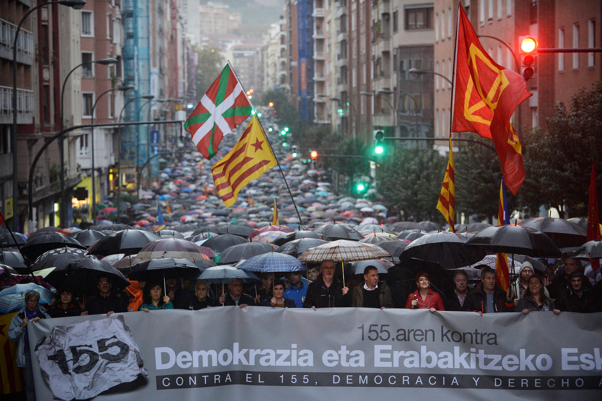 Aranburu, Munoz and Otegi take part in a demonstration against Spains Article 155 in Bilbao