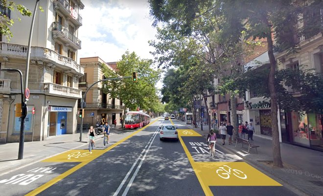 Carril bici integrado en el carril bus en Sants-Creu Coberta (simulación)