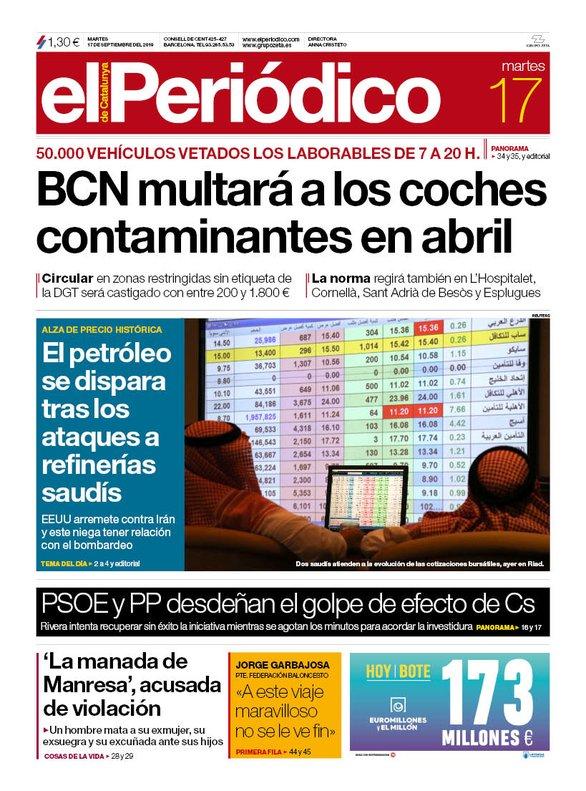 La portada d'EL PERIÓDICO del 17 de setembre del 2019
