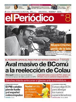La portada d'EL PERIÓDICO del 8 de juny del 2019