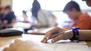 Alumnos de primaria durante una prueba externa de evaluación, en un colegio de Barcelona.