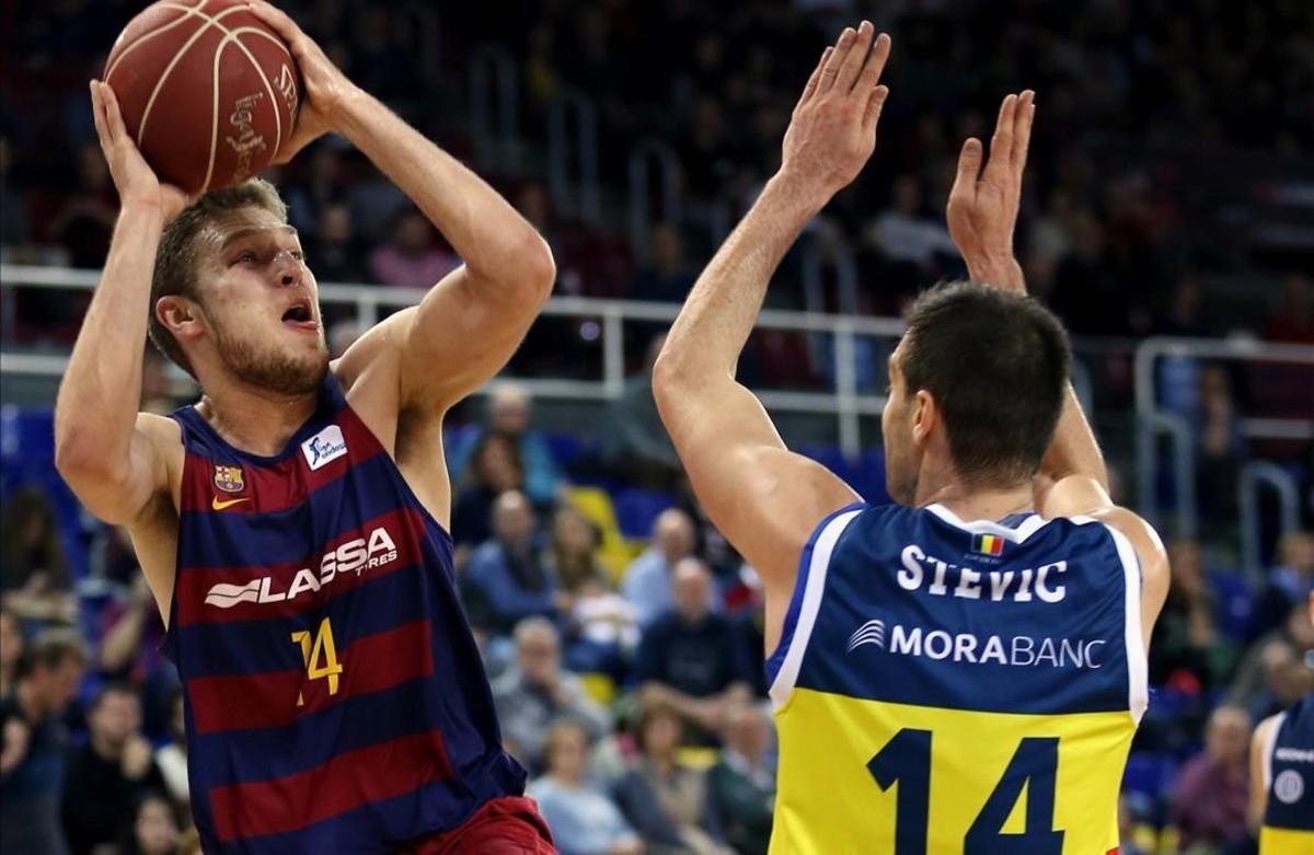El azulgrana Vezenkov, en el partido del pasado domingo ante el Andorra