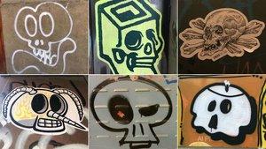 Calaveras pintadas en las calles de Barcelona.