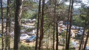 Centenares de coches en un campo de Querol, zona protegida, este sábado.
