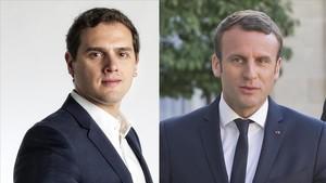 El líder de Ciudadanos, Albert Rivera, y el presidente de Francia, Emmanuel Macron
