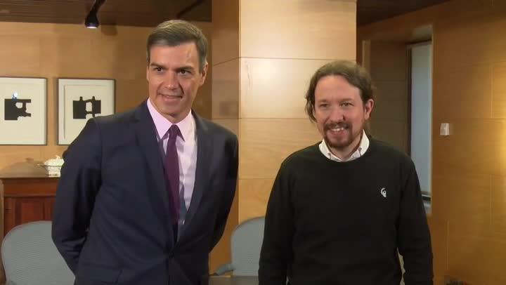 El presidente del Gobierno en funciones, Pedro Sánchez, está reunido desde las 10.10 con el líder de Unidas Podemos, Pablo Iglesias.