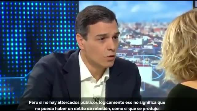 Entrevista de Pedro Sánchez en Espejo Público en que sí consideraba que en Catalunya se había incurrido en el delito de rebelión.