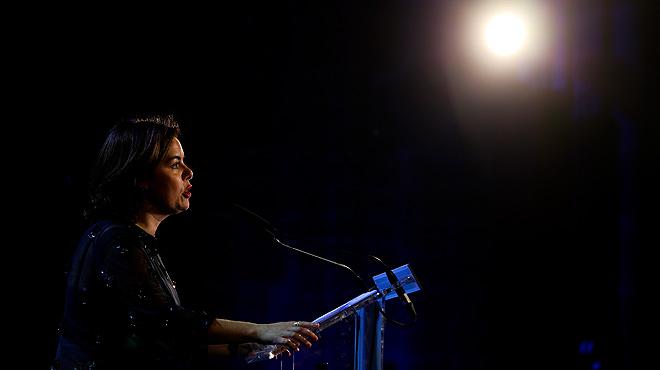 Declaracions de Soraya Sáenz de Santamaría i Oriol Junqueras en els premis Empresa de l'Any 2016.