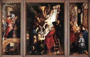 El descendimiento de la cruz, de Pedro Paul Rubens, en el centro del tríptico que se conserva en la Catedral de Amberes (Bélgica).