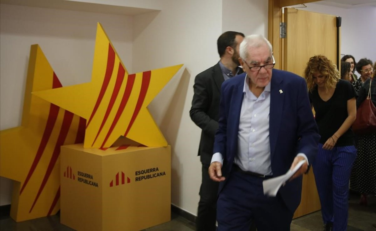Ernest Maragall, en la sede de ERC antes de una rueda de prensa.