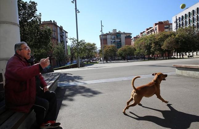 Un vecino del barrio juega con su perro en una plaza dura de Baró de Viver.