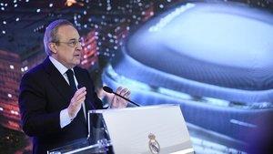 Florentino Pérez, durante la presentación de la reforma del estadio Santiago Bernabéu.